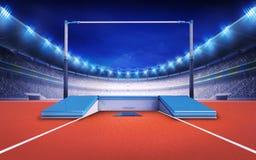 Stadio di atletica con la posta di salto di palo Fotografia Stock Libera da Diritti