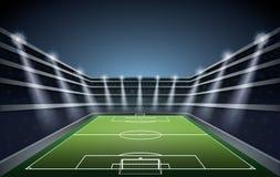 Stadio di calcio con le luci del punto Fotografia Stock