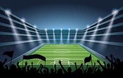 Stadio di calcio con le luci del punto Immagini Stock Libere da Diritti