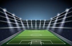 Stadio di calcio con le luci del punto Fotografie Stock Libere da Diritti
