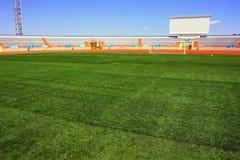 Stadio di calcio di Fotball su cielo blu Immagine Stock Libera da Diritti