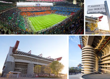 Stadio di calcio di Giuseppe Meazza a Milano, Italia immagine stock libera da diritti