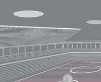 Stadio di calcio e tribune illustrazione di stock