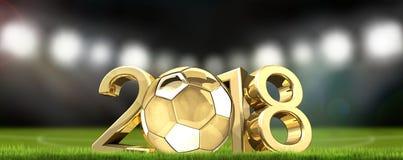 Stadio di football americano di calcio e renderi dorato 3d della palla 2018 di calcio Fotografie Stock Libere da Diritti