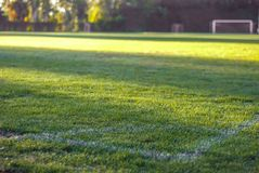 Stadio di football americano Campo di football americano Autunno Portoni di calcio immagini stock libere da diritti