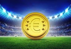 Stadio di football americano con l'euro moneta dorata Immagine Stock Libera da Diritti