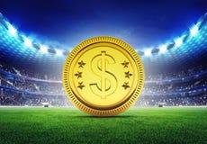 Stadio di football americano con la moneta dorata del dollaro Fotografia Stock