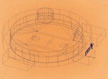 Stadio di football americano - retro architetto Blueprint royalty illustrazione gratis