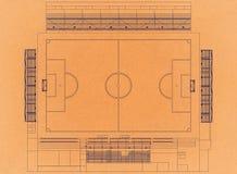 Stadio di football americano - retro architetto Blueprint illustrazione di stock
