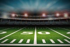 Stadio di football americano vuoto alla notte Immagini Stock Libere da Diritti