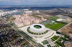 Stadio di Krasnodar nella città di Krasnodar La costruzione moderna dello stadio nel sud della Russia immagini stock libere da diritti