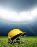 Stadio e casco del cricket Fotografia Stock