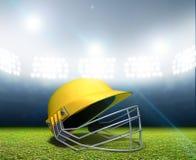 Stadio e casco del cricket Immagine Stock Libera da Diritti