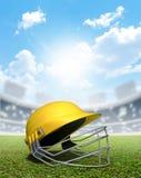 Stadio e casco del cricket Immagine Stock
