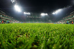 Stadio, fine su su erba Fotografie Stock