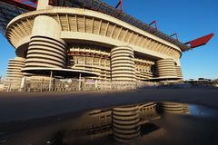 Stadio Giuseppe Meazza commonly known as San Siro, is a football stadium in Milan, Italy, which is the home of A.C. Milan and Int. Er Milan Stock Photography