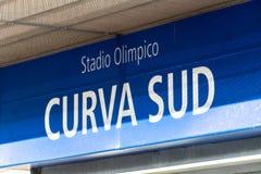 Stadio Olimpico Curva Sud podpisuje wewnątrz Rzym, Włochy obrazy royalty free