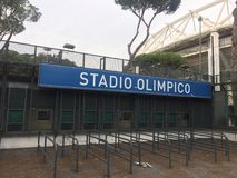 Stadio Olimpico signage in Rome, Italy. Rome, Italy - January 7, 2017: Stadio Olimpico signage. The Stadio Olimpico is the main and largest sports facility of Stock Image