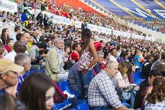 Stadio Olimpico - spectators. Spectators at Diamond League on Stadio Olimpico  Olympic stadium  in Rome, Italy in 2016 Stock Photo