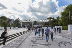 Stadio Olimpico. Spectators going to Diamond League on Stadio Olimpico  Olympic stadium  in Rome, Italy in 2016 Royalty Free Stock Photography