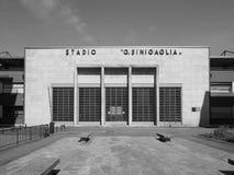 Stadio Sinigaglia stadium in Como in black and white. COMO, ITALY - CIRCA APRIL 2017: Stadio Giuseppe Sinigaglia stadium in black_and_white Stock Photo