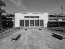 Stadio Sinigaglia stadium in Como in black and white. COMO, ITALY - CIRCA APRIL 2017: Stadio Giuseppe Sinigaglia stadium in black and white Royalty Free Stock Image