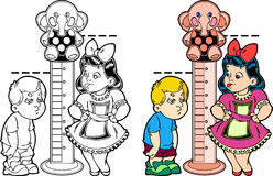 Stadiometer. Figure shows cartoon boy and girl, measuring growth. The picture shows the development of children. Illustration done in the style of coloring book Royalty Free Stock Image