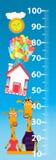 Stadiometer für Kinder Giraffenhaus Babybild Lizenzfreies Stockfoto