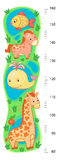 Stadiometer wall or height meter from 80 to 160 centimeter with giraffe and whale, horse, fish, sea, lake. Animal wall or height meter from with giraffe and vector illustration