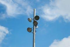 Stadionów futbolowych światła reflektorów Obrazy Royalty Free