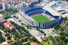 Stadion av Barcelona från helikoptern spain Fotografering för Bildbyråer