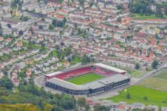 Stadion in Bergen, Norwegen Stockbild