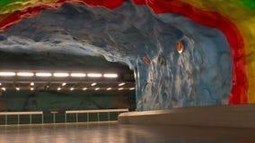 Stadion Estación de metro Arte en el subterráneo Estocolmo suecia almacen de metraje de vídeo