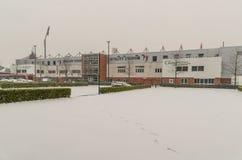 Stadion för AFC Bournemouth i snö Arkivbild