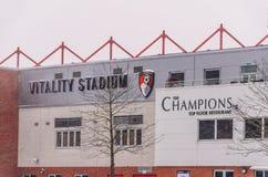 Stadion för AFC Bournemouth i snö Royaltyfri Bild