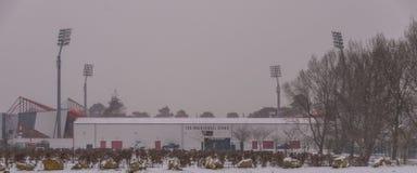 Stadion för AFC Bournemouth i snö Arkivfoto