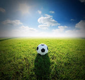 Stadion för fotboll för fotbollfält på sporten för blå himmel för grönt gräs Royaltyfri Foto