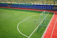 stadion för fotboll för fotbollgreenpitch Arkivbilder
