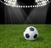 Stadion für Fußball Ball auf grünem Gras lizenzfreie stockfotografie