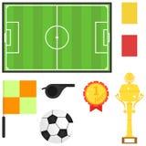 Stadion fotbollboll, sporttrofé Ämnen för fotboll vektor illustrationer
