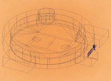 Stadion futbolowy - Retro architekta projekt royalty ilustracja