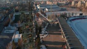 Stadion im Freien im Winter stock video