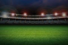 Stadion med fotbollfältet Royaltyfri Bild