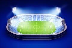 Stadion med fotbollfältet med ljusen på mörker - blå bakgrund Arkivfoto