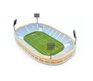 Stadion med fotbollfältet med ljusställningarna som isoleras på vit Arkivfoton