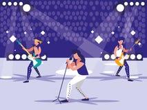 Stadion med vaggar konsert stock illustrationer