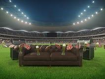 Stadion met een bank in het midden het 3d teruggeven Stock Afbeeldingen