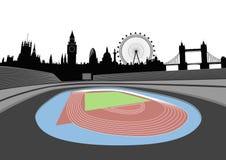 Stadion mit London-Skylinen Stockbild