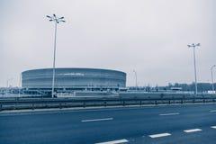 Stadion modern arkitektur i Wroclaw Polen Arkivfoto