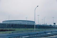 Stadion modern arkitektur i Wroclaw Polen Fotografering för Bildbyråer